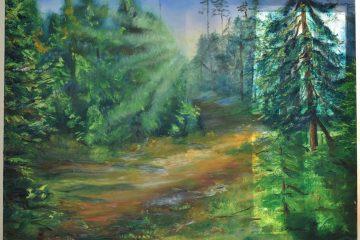 """Aicinam uz Jeļenas Koļesņikovas glezniecības izstādi """"Un mežs ir tik tuvu!"""""""